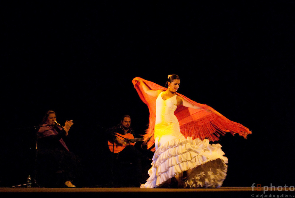 "The Dancer Angeles Gabaldon during the Spanish Dance Gala ""Quejio Flamenco"" in the Second International Dance Festival Ibérica Contemporánea, Querétaro, México 2009."