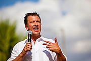 12 JUNE 2010 - PHOENIX, AZ: Todd Long, a conservative Florida Republican Congressional candidate addresses the Tea Party crowd at a rally in support of SB 1070 in Phoenix, AZ, Saturday. About 500 people, many from California and Florida, came to Bolin Memorial Park in Phoenix Saturday. The pro SB 1070 rally was sponsored by Tea Party.   PHOTO BY JACK KURTZ