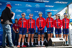 "May 18, 2018 - South Lake Tahoe, California, U.S - Friday, May 18, 2018.Emcee DAVE TOWLE introduces Swapit | Agolico Cycling Pro Team (MEX) before the start of Stage 2 of the Amgen Tour of California Women's Race empowered with SRAM, which starts and finishes near Heavenly Ski Resort in South Lake Tahoe, California...BIB, NAME, NAT.121, RAMêREZ FREGOSO, MEX.122, MU""OZ GRANDON, CHI.123, PRIETO CASTA""EDA, MEX.124, SALAZAR VAZQUEZ, MEX.125, SANTOYO PEREZ, MEX.126, VARGAS BARRIENTOS, CRC (Credit Image: © Tracy Barbutes via ZUMA Wire)"