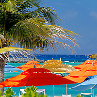 Caribbean, Bahamas, Castaway Cay. Umbrellas and Shade at Castaway Cay.
