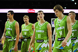 Jure Balazic of Slovenia, Miha Zupan of Slovenia, Goran Dragic of Slovenia, Jaka Klobucar of Slovenia after the friendly match between National Teams of Slovenia and New Zealand before World Championship Spain 2014 on August 16, 2014 in Kaunas, Lithuania. Photo by Robertas Dackus  / Sportida.com