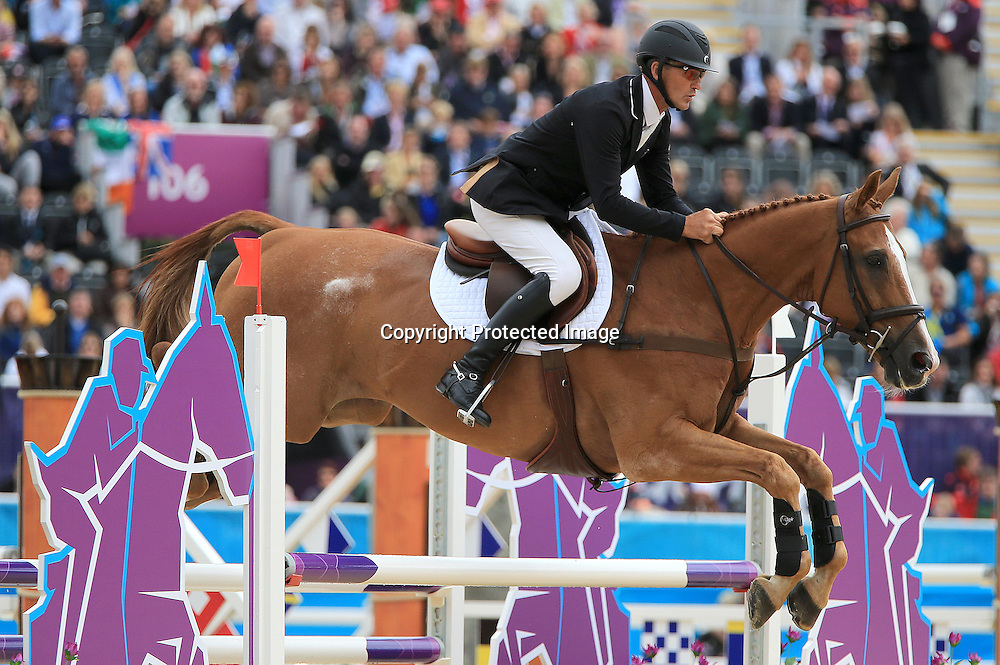 Equestrian, 3 Day Eventing, London 2012 Olympic Games, Greenwich Park, London, England 31/7/2012<br /> Showjumping <br /> New Zealand's Andrew Nicholson on Nereo<br /> Mandatory Credit &copy;INPHO/Dan Sheridan