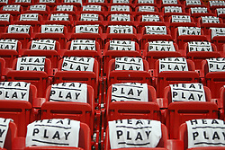 April 19, 2018 - Miami, FL, USA - A view of the playoff T-shirts on seats as the Philadelphia 76ers visit the Miami Heat in Game 3 of a first-round NBA playoff series at AmericanAirlines Arena in Miami on Thursday, April 19, 2018. (Credit Image: © David Santiago/TNS via ZUMA Wire)