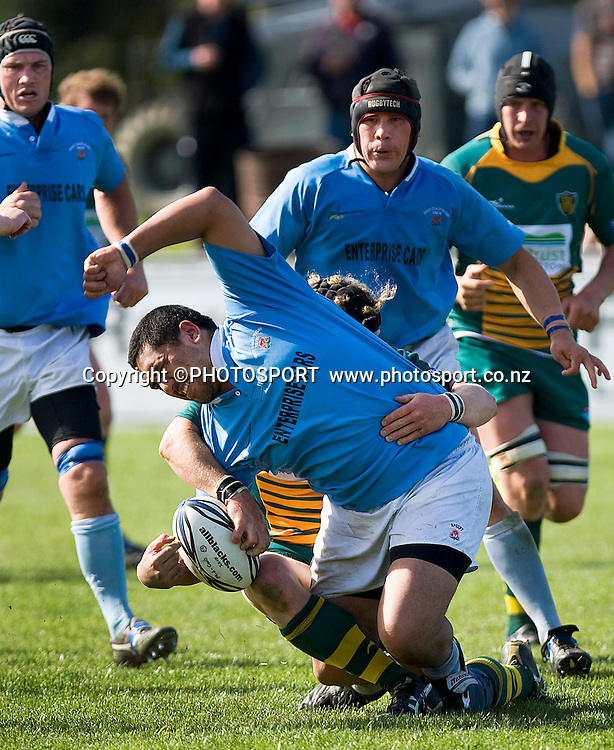 East Coast player Harley Phillips runs into the tackle of Mid Canterbruy player Nick McKain. Heartland Championship Rugby. Mid Canterbury v Ngati Porou East Coast at the Ashburton Showgrounds, Ashburton. Saturday 25 September 2010. Photo: Joseph Johnson/www.photosport.co.nz