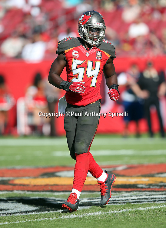 Tampa Bay Buccaneers outside linebacker Lavonte David (54) jogs across the field during the 2015 week 14 regular season NFL football game against the New Orleans Saints on Sunday, Dec. 13, 2015 in Tampa, Fla. The Saints won the game 24-17. (©Paul Anthony Spinelli)