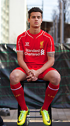 LIVERPOOL, ENGLAND - Thursday, April 10, 2014: Liverpool's Philippe Coutinho Correia at the launch the new Warrior home kit for 2014/2015 at the Liverpool One shopping centre. (Pic by David Rawcliffe/Propaganda)