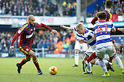 Ipswich Town striker David McGoldrick (10) takes on Queens Park Rangers defender Jake Bidwell (3) during the EFL Sky Bet Championship match between Queens Park Rangers and Ipswich Town at the Loftus Road Stadium, London, England on 2 January 2017. Photo by Andy Walter.