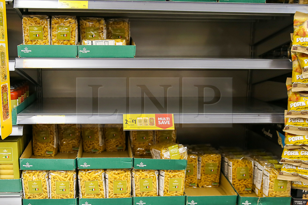 © Licensed to London News Pictures. 03/03/2020. London, UK. A Morrisons supermarket store in London run low on supply of Asian food amid increased number of cases of Coronavirus (COVID-19) in the UK. Fifty one people have tested positive of Coronavirus in the UK and Prime Minister Boris Johnson has set out the Government's plans to tackle Coronavirus (Covid-19). Photo credit: Dinendra Haria/LNP