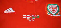 SOUTHAMPTON, ENGLAND - Friday, April 6, 2018: Wales players' shirts laid out in the dressing room before the FIFA Women's World Cup 2019 Qualifying Round Group 1 match between England and Wales at St. Mary's Stadium. (Pic by David Rawcliffe/Propaganda)