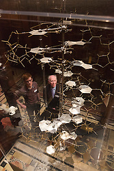 "© Licensed to London News Pictures. 30/01/2014. London, England. Picture: Reproduction of James Watson & Francis Crick's 1953 skeletal model of DNA, built by Roger Lucke and Claudio Villa, 2003, metal structure, from the MRC Laboratory of Molecular Biology. The Exhibition ""Discoveries - Art, Science & Exploration"" from the University of Cambridge Museums opens at Two Temple Place, Embankment, London on 31 January and runs until 27 April 2014. Photo credit: Bettina Strenske/LNP"
