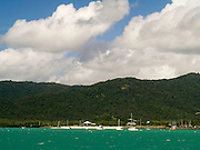 View of Airlie Beach area from the water; Airlie Beach, QLD, Australia
