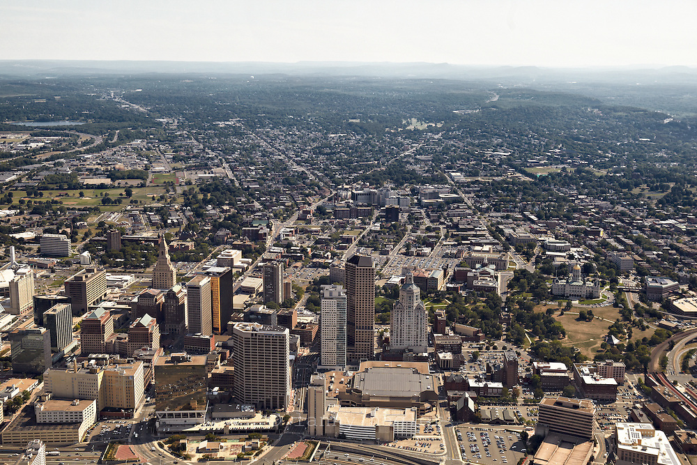 Aerial view of Hartford from the north