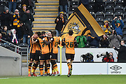 Hull City celebrate Hull City striker Abel Hernandez (9) scoring to go 1-0 up during the Sky Bet Championship match between Hull City and Charlton Athletic at the KC Stadium, Kingston upon Hull, England on 16 January 2016. Photo by Ian Lyall.
