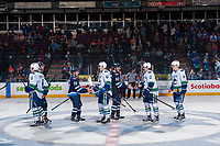 PENTICTON, CANADA - SEPTEMBER 8: The Vancouver Canucks shake hands with the Winnipeg Jets on September 8, 2017 at the South Okanagan Event Centre in Penticton, British Columbia, Canada.  (Photo by Marissa Baecker/Shoot the Breeze)  *** Local Caption ***