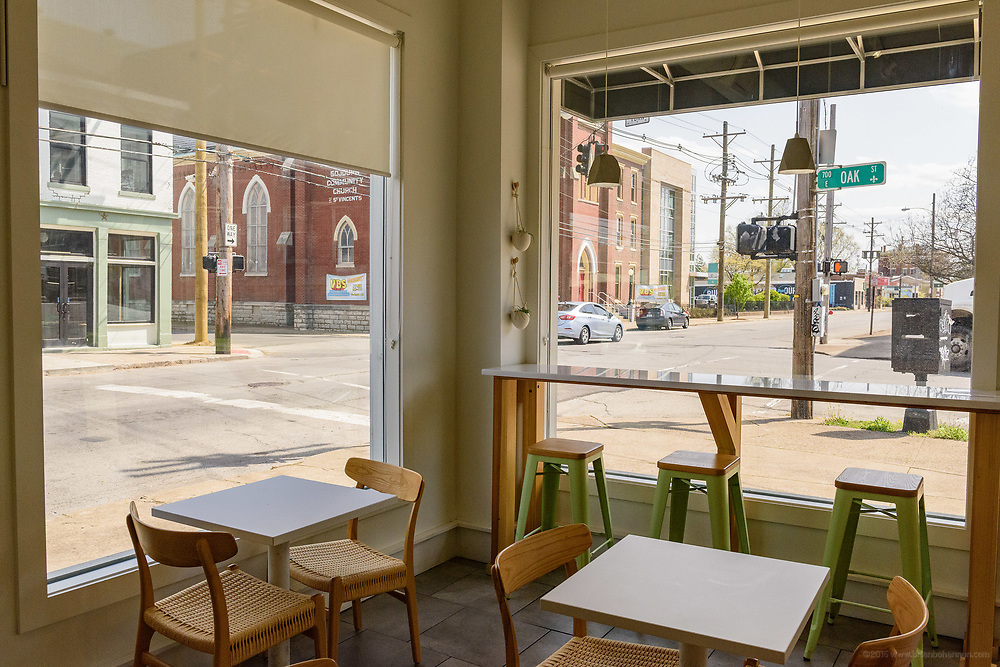 The view at Scarlet's Bakery, 741 E. Oak, at the corner of Oak and Shelby Streets in the Smoketown neighborhood. April 18, 2018