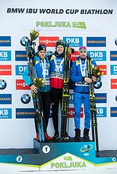 Second placed Antonin Guigonnat (FRA), winner Johannes  Thingnes Boe (NOR) and third placed Alexander Loginov (RUS) celebrate at medal ceremony after the Men 10km Sprint at day 6 of IBU Biathlon World Cup 2018/19 Pokljuka, on December 7, 2018 in Rudno polje, Pokljuka, Pokljuka, Slovenia. Photo by Vid Ponikvar / Sportida