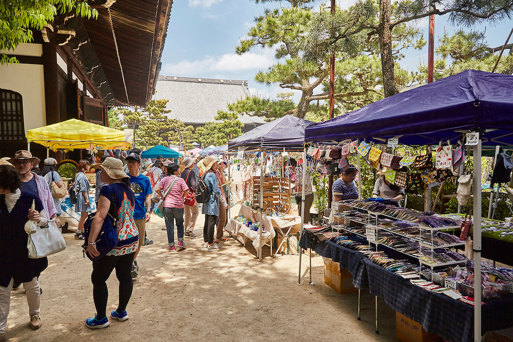The monthly handicraft market held in Chion-ji  shrine. The market takes place on the 15th of each month and features crafts and other handmade goods.