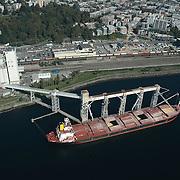 Aerial photograph of  a GrainTanker on Elliott Bay outside Seattle