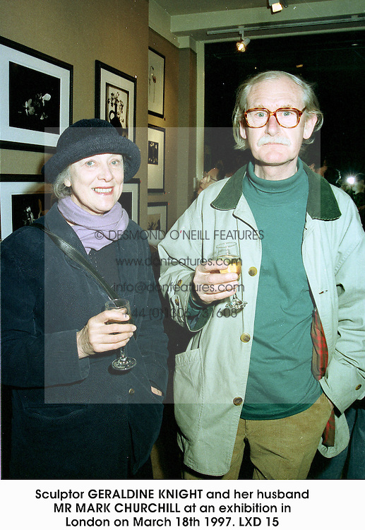 Sculptor GERALDINE KNIGHT and her husband MR MARK CHURCHILL at an exhibition in London on March 18th 1997.LXD 15