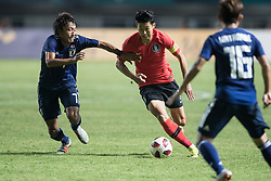BOGOR, Sept. 1, 2018  Son Heung Min (C)of South Korea competes during the men's football final between South Korea and Japan at the 18th Asian Games in Bogor, Indonesia on Sept. 1, 2018. (Credit Image: © Wu Zhuang/Xinhua via ZUMA Wire)