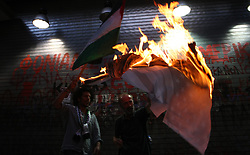 June 15, 2017 - Thessaloniki, Greece - Anti-Israel protest during Israeli's Prime Minister Benjamin Netanyahu visit in Thessaloniki, Greece, on  June 15, 2017. (Credit Image: © Grigoris Siamidis/NurPhoto via ZUMA Press)