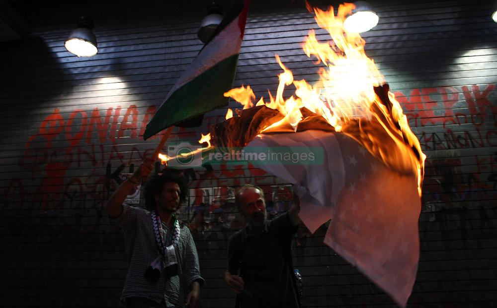 June 15, 2017 - Thessaloniki, Greece - Anti-Israel protest during Israeli's Prime Minister Benjamin Netanyahu visit in Thessaloniki, Greece, on  June 15, 2017. (Credit Image: © Grigoris Siamidis/NurPhoto via ZUMA Press)