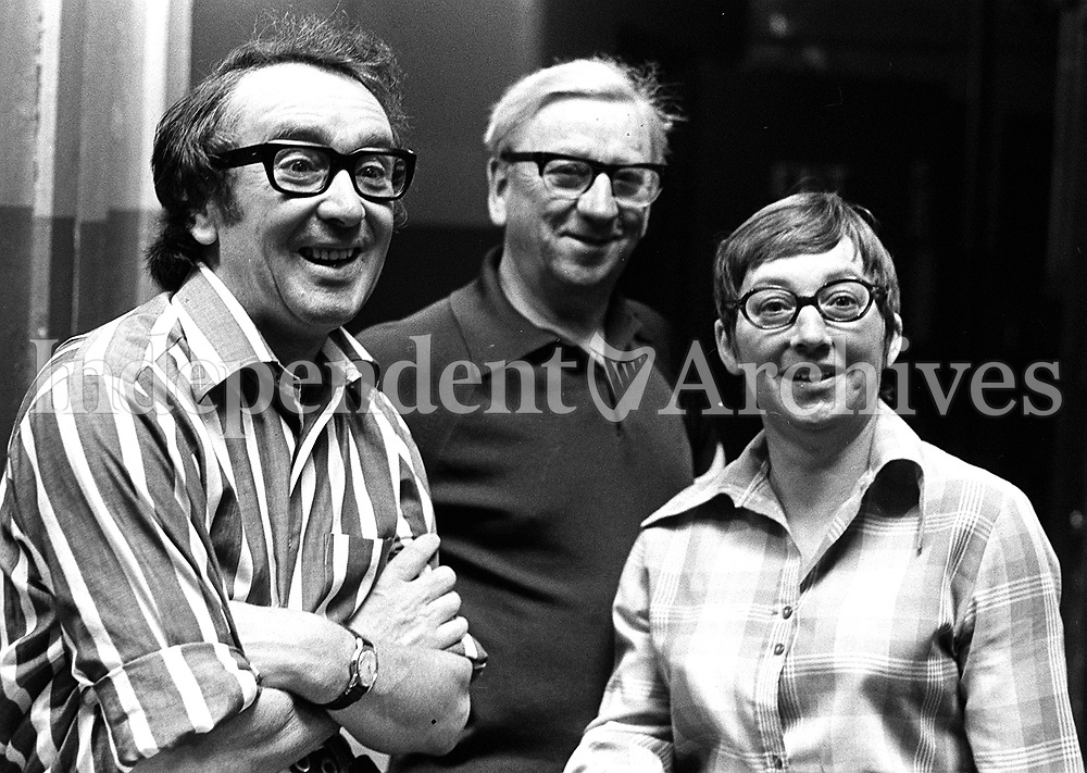 Comedian Hal Roach, actor Danny Cummins and actress Maureen Potter at the Gaiety Theatre, July 1975. (Part of Independent Newspapers Ireland/NLI Collection)