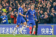 GOAL PENALTY 1-0 Chelsea midfielder Jorginho (5) scores and celebrates during the Premier League match between Chelsea and Arsenal at Stamford Bridge, London, England on 21 January 2020.