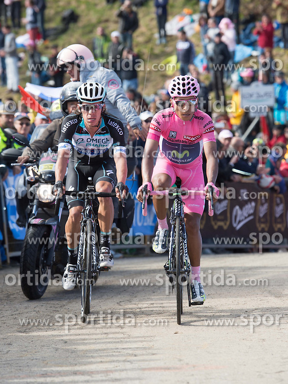 31.05.2014, Monte Zoncolan, ITA, Giro d Italia 2014, 20. Etappe, Maniago nach Monte Zoncolan, im Bild der Gesamtführende Nairo Quintana, COL (#121, Movistar Team) und Rigoberto Uran, COL (#141, Omega Pharma – Quick Step) // race leader Nairo Quintana, COL (#121, Movistar Team) and Rigoberto Uran, COL (#141, Omega Pharma – Quick Step) during Giro d' Italia 2014 at Stage 20 from Maniago to Monte Zoncolan, Italy on 2014/05/31. EXPA Pictures © 2014, PhotoCredit: EXPA/ R. Eisenbauer