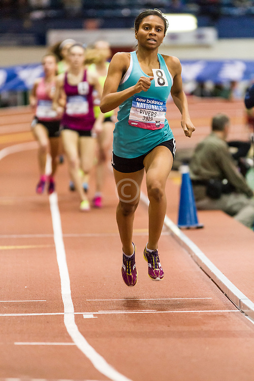 Girl's Championship Mile, won by Alexa Efraimson in new national HS indoor record 4:38.46, Danae Rivers