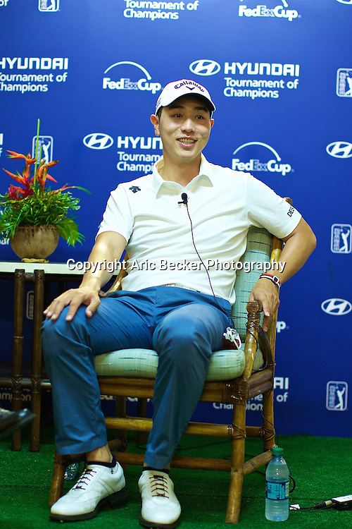 January 09 2015:  Sang-Monn Bae meets with the press after his opening round 66 of the First Round of the Hyundai Tournament of Champions at Kapalua Plantation Course on Maui, HI.