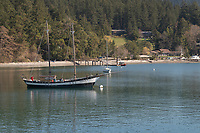 Sailboat anchored off Orcas Island, San Juan Islands Washington