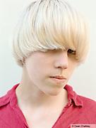 Jordan a young Mod with a bowl haircut, Southend, UK 2006