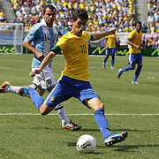 Oscar, Brazil, shoots during the Brazil V Argentina International Football Friendly match at MetLife Stadium, East Rutherford, New Jersey, USA. 9th June 2012. Photo Tim Clayton