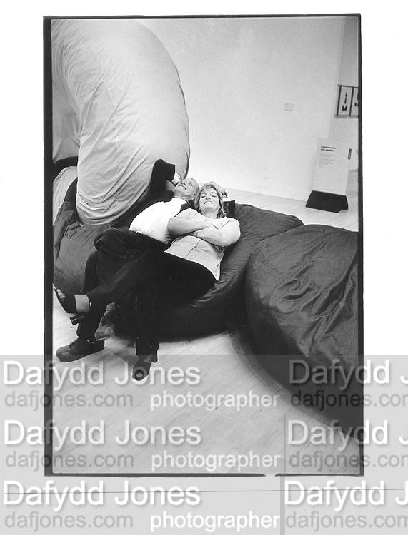 Sir Richard and Lady Rogers, on Angela Bulloch's work, 1997 Turner prize dinner, Tate Gallery, London, 2nd December 1997© Copyright Photograph by Dafydd Jones 66 Stockwell Park Rd. London SW9 0DA Tel 020 7733 0108 www.dafjones.com