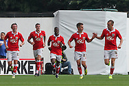 Aden Flint (2nd left) of Bristol City celebrates scoring his sides first goal with his team mates during the Sky Bet League 1 match at Ashton Gate, Bristol<br /> Picture by Tom Smith/Focus Images Ltd 07545141164<br /> 06/09/2014