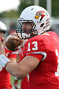 06 October 2012:  Matt Brown warms up during an NCAA football game between the Southern Illinois Salukis and the Illinois State Redbirds at Hancock Stadium in Normal IL