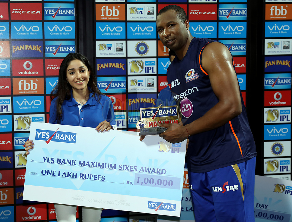 Kieron Pollard of the Mumbai Indians player receives Yes Bank Maximum sixes award during the presentation of the match 51 of the Vivo 2017 Indian Premier League between the Mumbai Indians and the Kings XI Punjab held at the Wankhede Stadium in Mumbai, India on the 11th May 2017<br /> <br /> Photo by Sandeep Shetty - Sportzpics - IPL