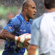 Faalemiga Selesele scores Samoa's 2nd first half try in Manu Samoa's 19-10 Quarter Final victory over Canada, in a torrential downpour, at the Hong Kong 7's day three, Hong Kong Stadium, Happy Valley, Hong Kong Island, China.   Photo by Barry Markowitz, 4/10/16