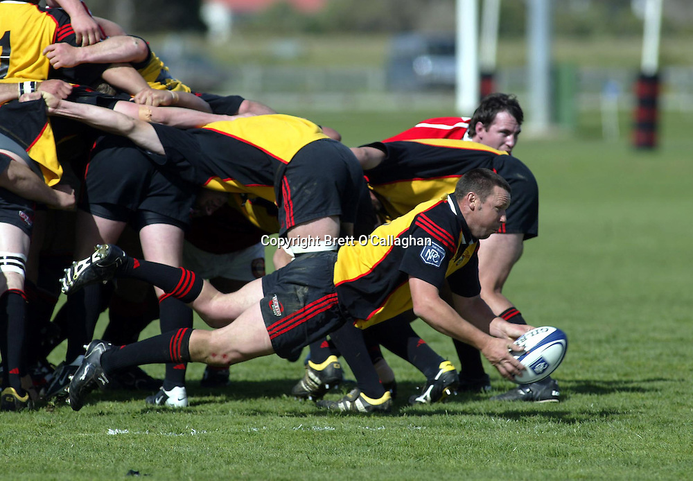 Aaron McDonald in action during the NPC Division 2 match between Marlborough and Thames Valley, Rhodes Park, Thames, September 18 2004. Malborough won 56-21. <br />PHOTO: Photosport