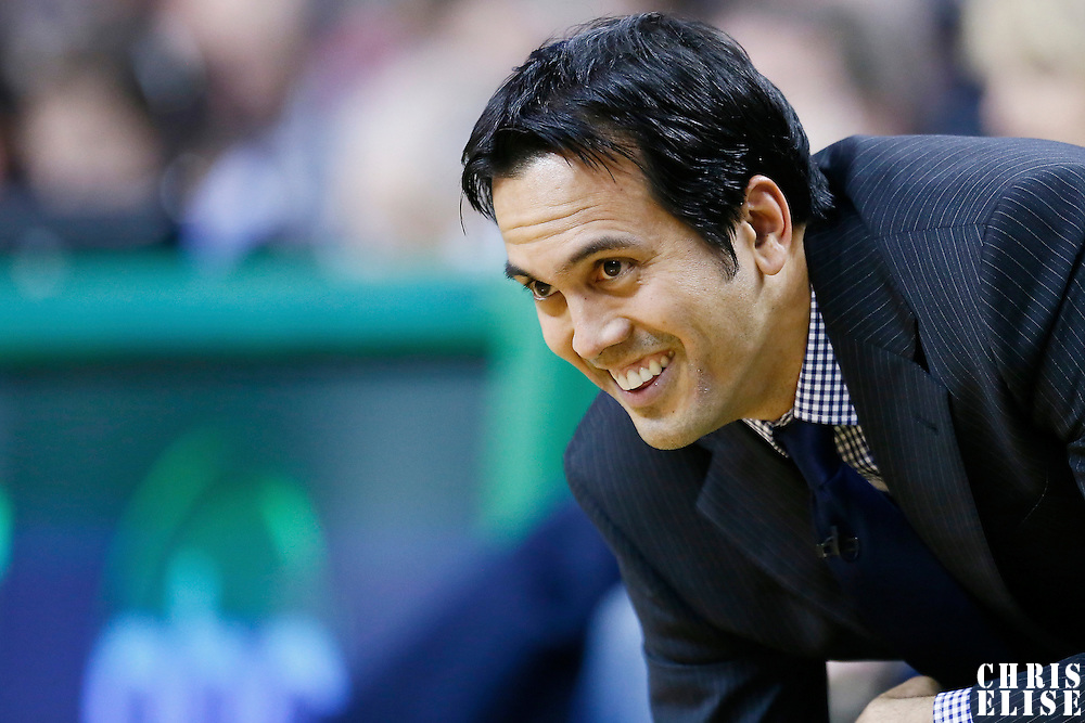 27 January 2013: Miami Heat head coach Erik Spoelstra during the Boston Celtics 100-98  2OT victory over the Miami Heat at the TD Garden, Boston, Massachusetts, USA.