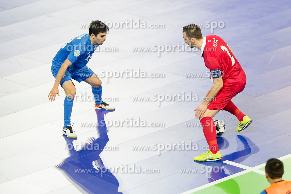 Dauren Nurgozhin of Kazakhstan and Marko Peric of Serbia during futsal quarter-final match between National teams of Kazakhstan and Serbia at Day 7 of UEFA Futsal EURO 2018, on February 5, 2018 in Arena Stozice, Ljubljana, Slovenia. Photo by Urban Urbanc / Sportida