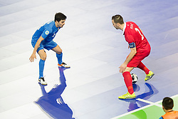 Dauren Nurgozhin of Kazakhstan and Marko Peric of Serbia during futsal quarter-final match between National teams of Kazakhstan and Serbia at Day 7 of UEFA Futsal EURO 2018, on February 5, 2018 in Arena Stozice, Ljubljana, Slovenia. Photo by Urban Urbanc / Sportida