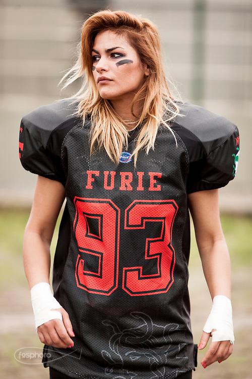 Cernusco SN, 28 aprile 2013 - Prima partita del primo Campionato Italiano di Football Americano Femminile. Furie  - Tempeste Sirene. 93 - Rozana Delhysa