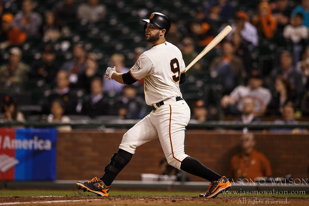 SAN FRANCISCO, CA - APRIL 18: Brandon Belt #9 of the San Francisco Giants at bat against the Arizona Diamondbacks during the ninth inning at AT&T Park on April 18, 2016 in San Francisco, California. The Arizona Diamondbacks defeated the San Francisco Giants 9-7 in 11 innings.  (Photo by Jason O. Watson/Getty Images) *** Local Caption *** Brandon Belt