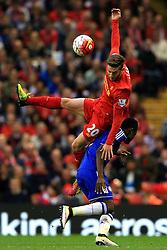 Baba Rahman of Chelsea challenges Adam Lallana of Liverpool  - Mandatory byline: Matt McNulty/JMP - 11/05/2016 - FOOTBALL - Anfield - Liverpool, England - Liverpool v Chelsea - Barclays Premier League