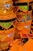 Ceremonial cloth decorations for sale at the market in Amlapura in Bali, Indonesia