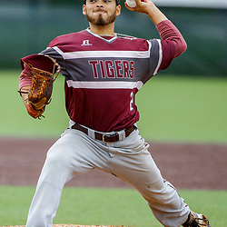 Texas Southern pitcher Anthony Martinez (2) throws against the Alabama State during the bottom of the sixth inning of the SWAC baseball championship final in New Orleans, La. Sunday, May 21, 2017.