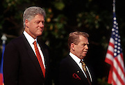 "President Bill Clinton and Czech President Vaclav Havel stand for the national anthems at the White House during the Czech State Visit September 16, 1998 in Washington, DC.  Vaclav Havel, the former dissident playwright who led Czechoslovakia's 1989 ""Velvet Revolution"" against communism and then served as his country's president, died December 18, 2011.  He was 75."