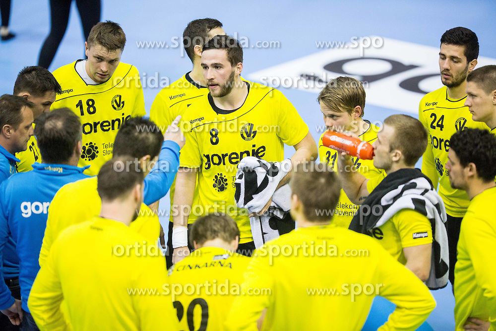 Michal Szyba  of RK Gorenje, Senjamin Buric of RK Gorenje and other players during handball match between RK Gorenje Velenje (SLO) and Pfadi Winterthur (SUI) in Group Phase of EHF European Cup 2014/15, on March 8, 2015 in Rdeca dvorana, Velenje, Slovenia. Photo by Vid Ponikvar / Sportida